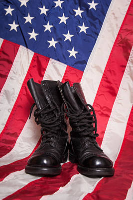 Police Photograph - Combat Boots With Flag by Erin Cadigan