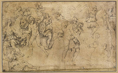 Drawing - Combat Of Greeks And Amazons With Achilles And Penthesilea by Girolamo da Carpi