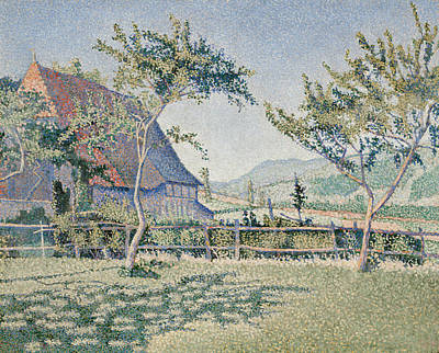 Pointillist Painting - Comblat-le-chateau, The Meadow by Paul Signac