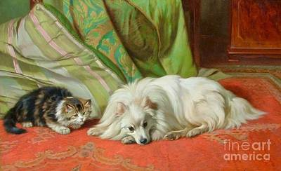 Wright Barker Painting - Come And Play by Wright Barker