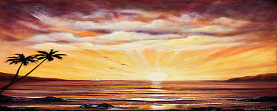 Come Fly With Me - Panoramic Sunset Print by Gina De Gorna
