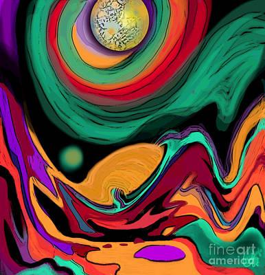 Gaia Digital Art - Comet II by Carol Jacobs