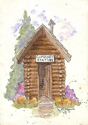 Log Cabin Art Mixed Media - Comfort Station by Gail Maguire