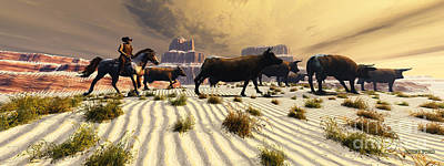 Cattle Drive Digital Art - Coming Home by Corey Ford