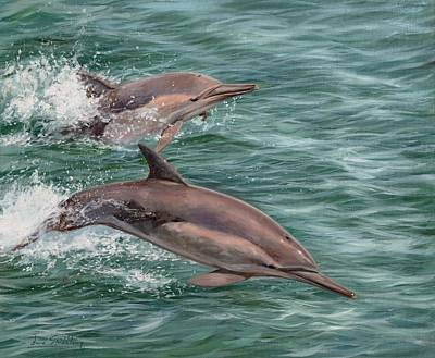 Dolphin Painting - Common Dolphins by David Stribbling