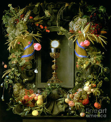 Veg Painting - Communion Cup And Host Encircled With A Garland Of Fruit by Jan Davidsz de  Heem