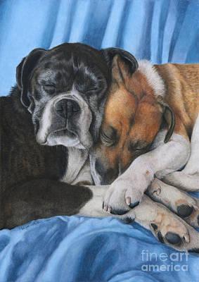Boxer Dog Art Drawing - Companionship by Monique Castellani-Kraan