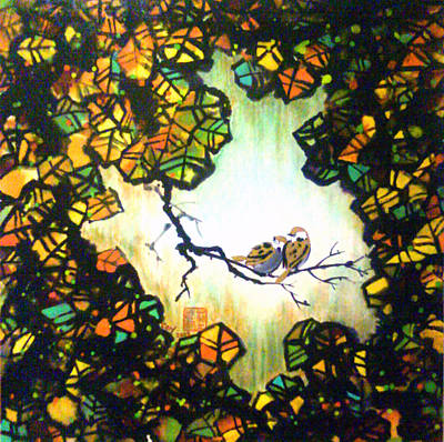 Lovebird Mixed Media - Companionship No. 2 - Autumn Leaves by Carl Jeremy Lum