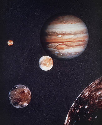 Composite Image Of Jupiter & Four Of Its Moons Print by Nasa