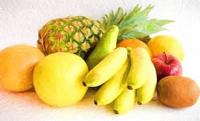 Grapefruit Digital Art - Composition Of Exotic And Citrus Fruits by Bettina Sentner