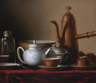 Bouys Painting - Composition With A Copper Pitcher And A Tea Set by Celestial Images