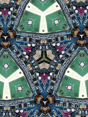 Chip Photograph - Computer Circuit Board Kaleidoscopic Design by Amy Cicconi