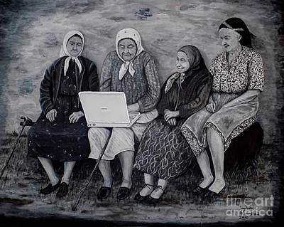 Old Woman Painting - Computer Class by Judy Kirouac