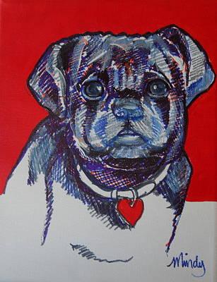Concerned Black Pug Original by Melinda Page