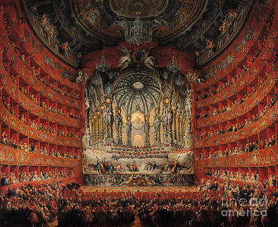 Orchestra Painting - Concert Given By Cardinal De La Rochefoucauld At The Argentina Theatre In Rome by Giovanni Paolo Pannini or Panini