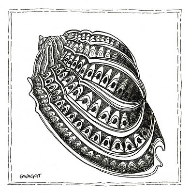 Dot Drawing - Conch Shell 1 by Stephanie Troxell