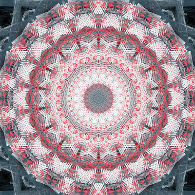 Concrete And Red Mandala- Abstract Art By Linda Woods Print by Linda Woods