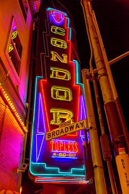 Advertise Photograph - Condor Neon On Broadway by Garry Gay