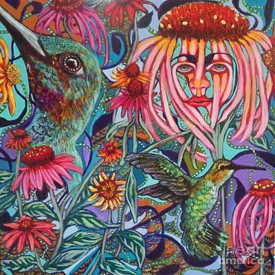 Coneflower And Hummingbird Original by Linda Markwardt