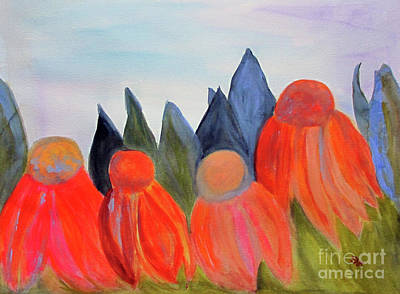 Abstracted Coneflowers Painting - Coneflowers by Sandy McIntire