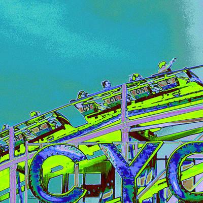 Amusements Mixed Media - Coney Iland Cyclone II by Marilu Windvand