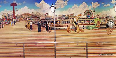 Park Scene Painting - Coney Island Boardwalk by Bonnie Siracusa