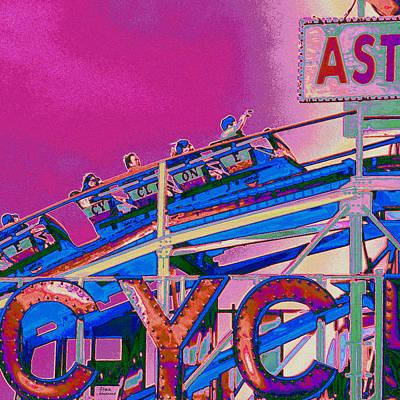 Amusements Mixed Media - Coney Island Cyclone I by Marilu Windvand
