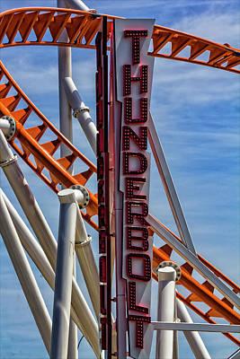 Roller Coaster Photograph - Coney Island Thunderbolt Roller Coaster by Robert Ullmann