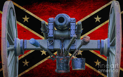 Confederate Flag And Cannon Print by Randy Steele