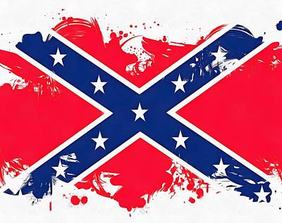 Blue Barn Doors Mixed Media - Confederate Flag Paint Splatter by Dan Sproul