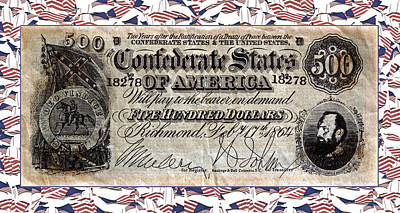 Confederate Money Print by Susan Leggett