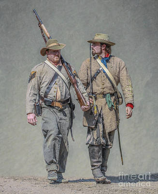 Confederate Soldier And Officer Print by Randy Steele