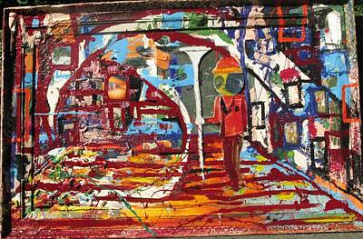 Etc. Mixed Media - Confused Man In The Moon With Trumpet by Samuel Miller