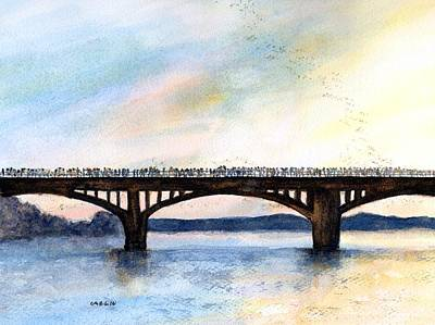 Austin Skyline Painting - Congress Bridge Bats Austin Tx by Carlin Blahnik