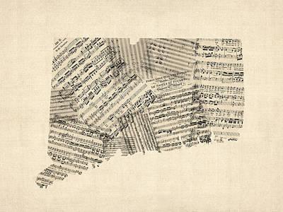 Old Sheet Music Digital Art - Connecticut Sheet Music Map by Michael Tompsett