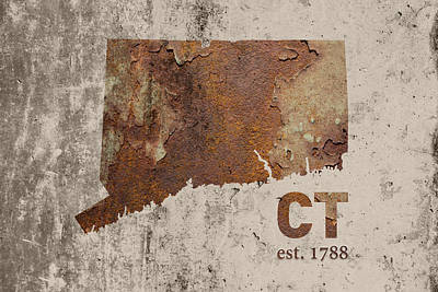 Connecticut State Map Industrial Rusted Metal On Cement Wall With Founding Date Series 024 Print by Design Turnpike