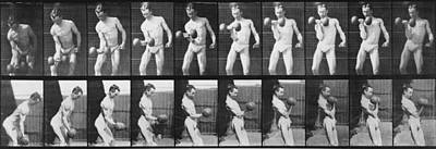 Consecutive Images Of Man Lifting Print by Everett