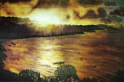 Fiber Art Painting - Consett Bay Evening by Deborah Younglao