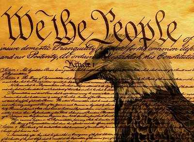 Bill Of Rights Mixed Media - Constitution And Bald Eagle by Dan Sproul