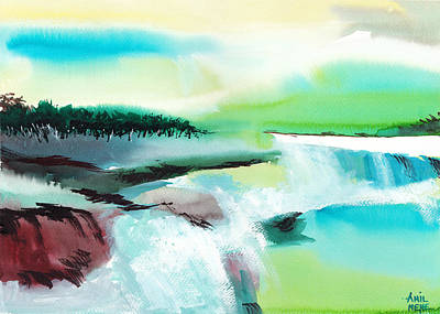 Abstract Beach Landscape Drawing - Constructing Reality 1 by Anil Nene