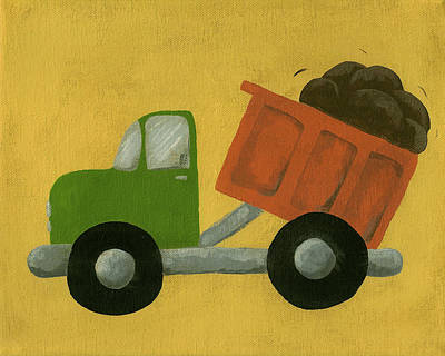 Truck Painting - Construction Dump Truck Nursery Art by Katie Carlsruh