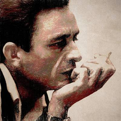 Johnny Cash Mixed Media - Contemplating Cash by Dan Sproul