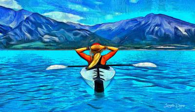Rowing Digital Art - Contemplating The Paradise - Da by Leonardo Digenio