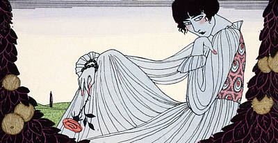 Ecole Painting - Contemplation by Georges Barbier