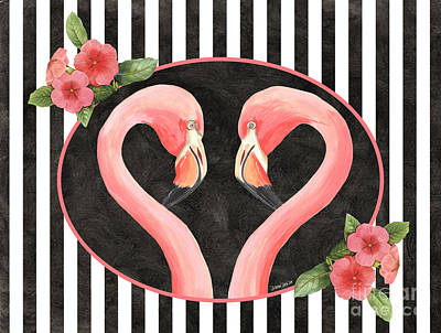 Stripes Mixed Media - Contemporary Flamingos 1 by Debbie DeWitt