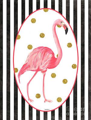 Stripes Mixed Media - Contemporary Flamingos 2 by Debbie DeWitt