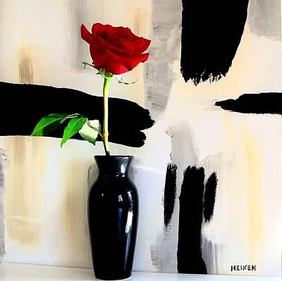 Golds Reds And Greens Digital Art - Contemporary Rose by Marsha Heiken