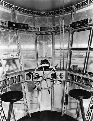 Cockpit Photograph - Control Room Of The Akron by Underwood Archives