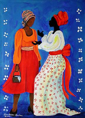 African American. Folk Art Painting - Conversation by Diane Britton Dunham