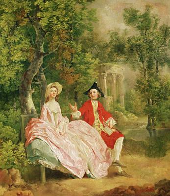 Conversation In A Park Print by Thomas Gainsborough